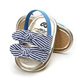 BENHERO Infant Baby Girls Summer Sandals with Bownot Soft Sole Non-Slip Newborn Toddler First Walker Crib Shoes,12-18 Months Infant,A-Stripe