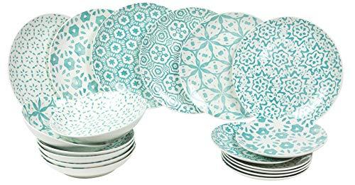 Villa d'Este Bodrum - Juego de platos de porcelana (18 piezas), color azul claro