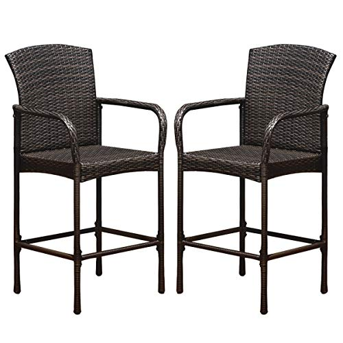 Tangkula Set of 2 Patio Bar Stools, Indoor Outdoor Use Wicker Rattan Barstool with Footrest for Garden Pool Lawn Backyard, Study Steel Frame Bar Chairs Furniture (Light Brown)