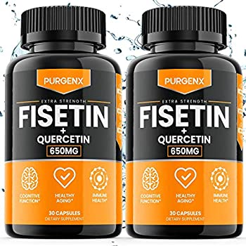 2 Pack  Fisetin with Quercetin 650mg Brain Booster Supplement Vitamin Pills for Anti Aging Focus Memory Energy Mood and Metabolism - Immune Support Antioxidant Flavonoid Vegan
