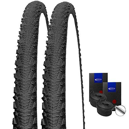 Set: 2 x Schwalbe CX Comp schwarz Cross Reifen 30-622 / 28x1.20 + Schwalbe Schläuche Autoventil