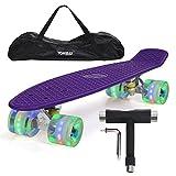 Yorbay 22' Mini Cruiser Skate 56cm Skateboard Complet avec Le Sac et T-Tool (Planche...