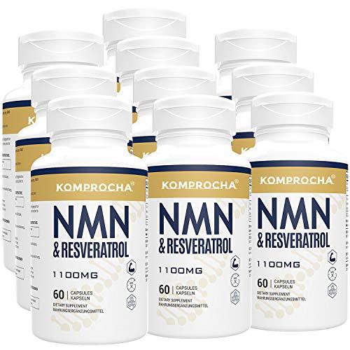 51sJ4u4IGXL. SL500  - NMN + Trans-Resveratrol 99% Purity+ Black Pepper 1100mg, for Max Absorption, Powerful Antioxidant & Anti-Aging Supplements for Heart, Immune & Skin Health (600 Capsules (Pack of 10))