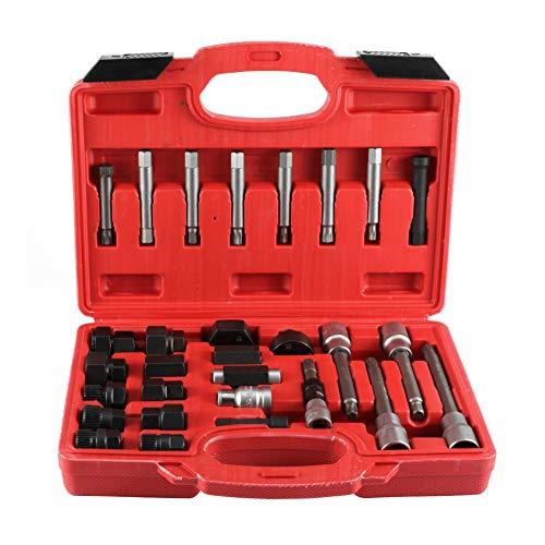 Juego de herramientas del alternador, 30 piezas Juego de herramientas manuales del alternador de hierro Rueda libre Extractor de polea Desmontaje Punta de vaso