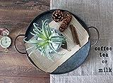 Funly mee 26CM Rundes verzinktes Metalltablett mit Griffen, dekoratives Serviertablett für Couchtisch oder Esstisch - 2