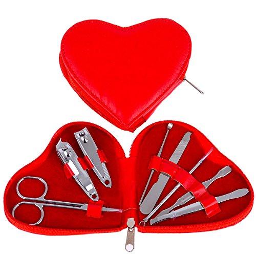Sunfairy 8 unids / set cortaúñas profesional de acero inoxidable pinzas herramienta de corte de uñas de archivo caja de regalo de cuero en forma de corazón rojo de moda