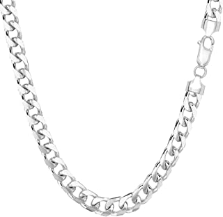 "TheDiamondDeal Mens Solid 14K Yellow Or White Gold 5.00mm Shiny Miami Cuban Link Chain Necklace For men for Pendants Or Mens Bracelet with Lobster-Claw Clasp (8.5"", 20"" 22"", or 24 inch)"