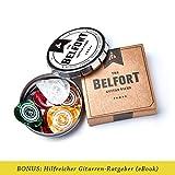 BELFORT® 20 hochwertige Plektren für Gitarre in edler Geschenk Box Gitarren Plektrum aus extrem robustem Celluloid 4 Stärken: 0.46-1.20mm   BONUS: Gratis Ebook