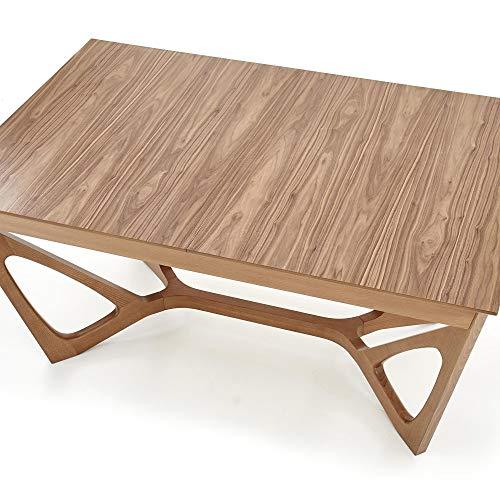 Luena - Mesa de comedor rectangular de madera Wenanty, (extendida), 160 (240) x 100 x 77 cm (160(240) x 100 x 77 cm, nogal, patas de madera de nogal americano macizo.