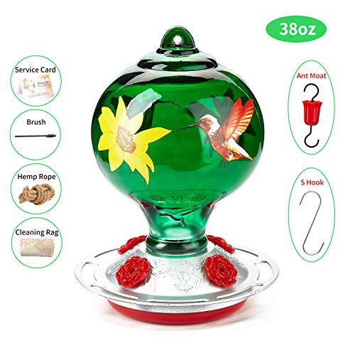 ShinyArt Hummingbird Feeder for Outdoors - Hand Blown Glass, 38 Ounces Nectar Capacity, Green Birds and Floral, Including Ant Moat, Metal Hook, Hemp Rope, Brush, Cleaning Rag and Service Card