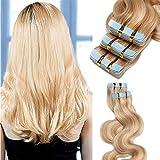 Extensiones Adhesivas de Cabello Natural Ondulado 50g - 20 piezas 100% Remy humano extensiones de pelo (40cm,#18/613 rubio ceniza y rubia dorado)