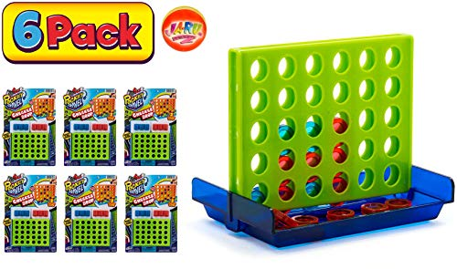 Checker Drop Connect Travel Mini Portable Pocket Board Games (Pack of 6) by JARU. Assortment of Classic Toys Party Favors Checkers Toy| Item #3253-6p