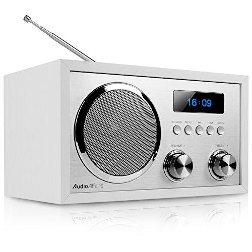 AudioAffairs DAB+ Digital Radio | Nostalgie-Radio | UKW Radio | FM | Bluetooth | kleines Küchenradio | Radiowecker mit 2 Alarmzeiten | AUX-IN | DAB Plus Radio mit Senderspeicher | Retro-Radio | Weiß