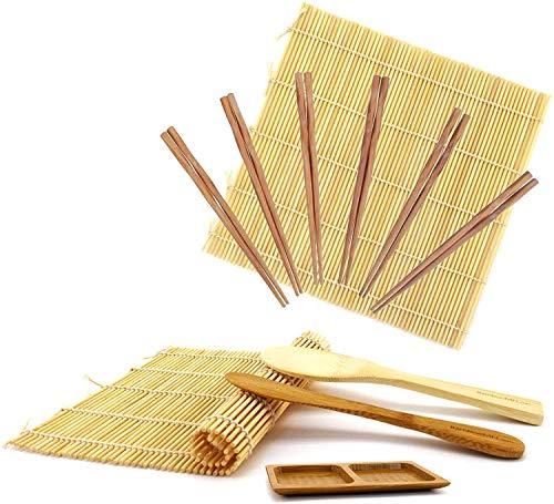bamboomn Sushi-Kit 2x Rollen, Bambus-Teppiche, 1x Reis Paddel, 1x Streuer + 1x Fach Saucenschälchen 1 Set Natural Deluxe Kit