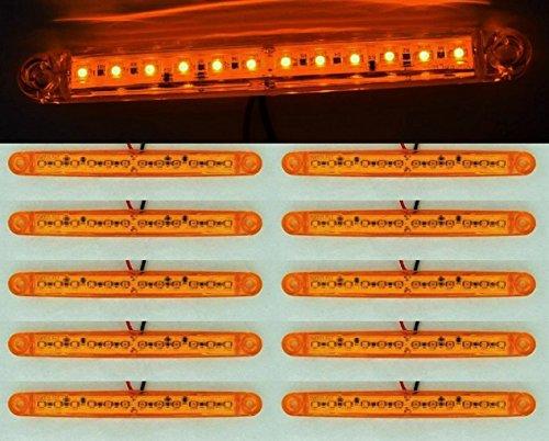 Lot de 10 feux d'encombrement latéraux 24 V orange ambre 12 LED pour camion, cabine de voiture, remorque, châssis benne