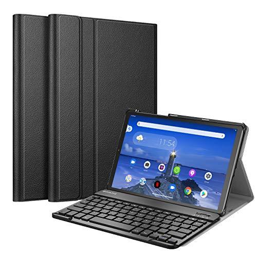 Fintie Tastatur Hülle für Lenovo Tab M10 FHD Plus/Smart Tab M10 FHD Plus 10.3 Zoll TB-X606, Slim Schutzhülle mit magnetisch Abnehmbarer Deutsches QWERTZ Bluetooth Keyboard, Schwarz