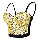ELLACCI Sexy Glass Mirror Beaded Bustier Crop Top Push up Corset Top with Detachable Straps Gold Large