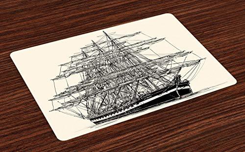 ABAKUHAUS Piratenschip Placemat Set van 4, Boot van het zeil Vintage, Wasbare Stoffen Placemat voor Eettafel, Cream Black