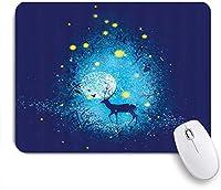 NIESIKKLAマウスパッド ファンタジー鹿のおとぎ話の森月光空飛ぶホタルが星明かりのように ゲーミング オフィス最適 高級感 おしゃれ 防水 耐久性が良い 滑り止めゴム底 ゲーミングなど適用 用ノートブックコンピュータマウスマット