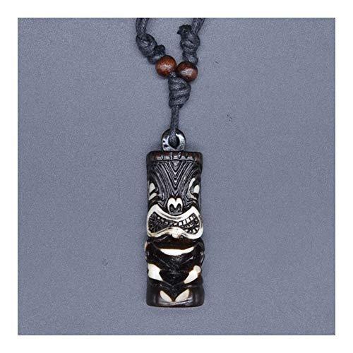 YUANYUAN520 El Hombre joyería Talisman imitación Hueso tótem Colgante Tribal Hawaiano Surfer Cuentas de Madera Collar Gargantilla Regalo Joyería