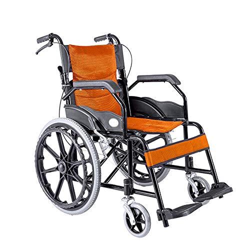 QiHaoHeji Manual de Instrucciones del sillón de Ruedas Mayor niños de Peso Ligero Plegable Silla de Ruedas Manual Silla de Transporte (Color : Orange, Size : One Size)
