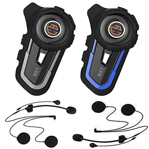 Bluetooth 5.1 Motorcycle Helmet Headset RX7, 4 Rider Group Intercom Range 1600 m,72h Music Play,IP67 Waterproof,FM, Voice Prompt,Hands-Free,GPS,CVC 8.0 Noise Reduction,Big Button(2 Pack)