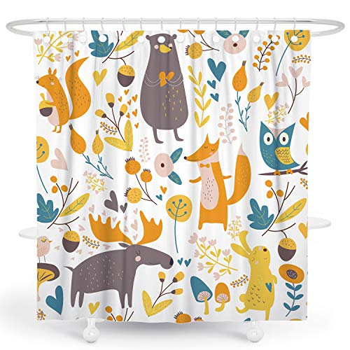 DESIHOM Kids Cartoon Shower Curtain 72x72 Inch, Woodland Forest Animal Shower Curtain with Plants Polyester Shower Curtain