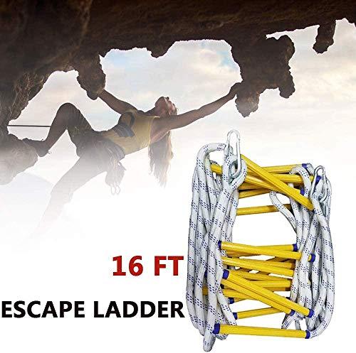 CARLAMPCR Escalera de Cuerda de Escape de Incendio - Escalera de Evacuación Emergencia para Adultos Niños, Escalera de Seguridad con Ganchos para Rescate Escape, Fuerte Plegable (5M)