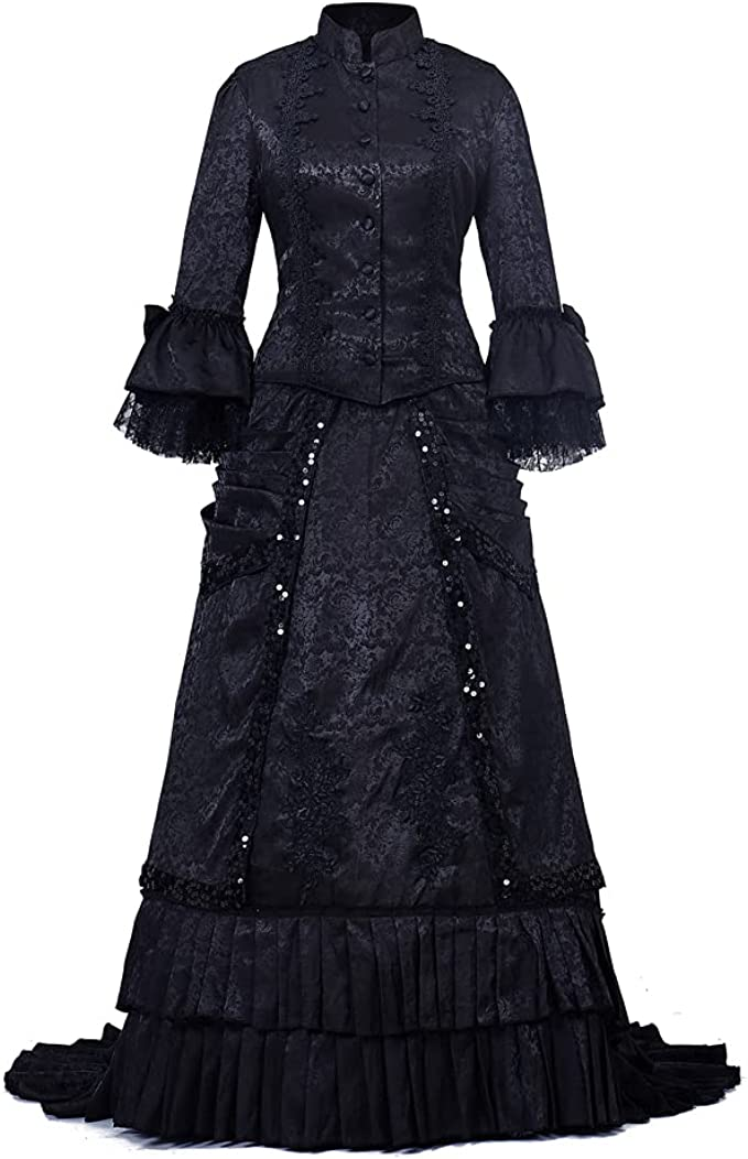 Victorian Dresses | Victorian Ballgowns | Victorian Clothing Fortunehouse Victorian Bustle Dress Gown Halloween Costume Steampunk Victorian Gothic Cosplay Costume  AT vintagedancer.com