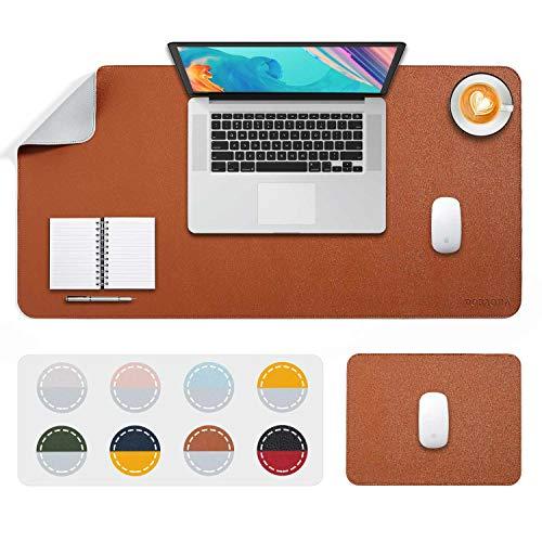 DOBAOJIA Tappetino per Mouse Grande Mouse Pad XL Sottomano da Ufficio Laptop Tappetino Scrivania Tappetino Scrittura, 2 Pacchi 80x40 + 28x20 cm Cucito Uso Doppio Lato Simipelle PU (Marrone/Grigio)