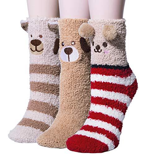 YSense 3 Paar Kuschelsocken Flauschige Damen Socken Süßes Geschenk Weihnachtssocken Valentinstag Geburtstagsgeschenk für Frauen, Fre&in MEHRWEG