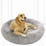 Friends Forever Coco Cat Bed, Faux Fur Dog Beds for Medium Small Dogs - Self Warming Indoor Round Pillow Cuddler, Large, Grey