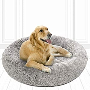 Friends Forever Coco Cat Bed, Faux Fur Dog Beds for Medium Small Dogs – Self Warming Indoor Round Pillow Cuddler, Large, Grey