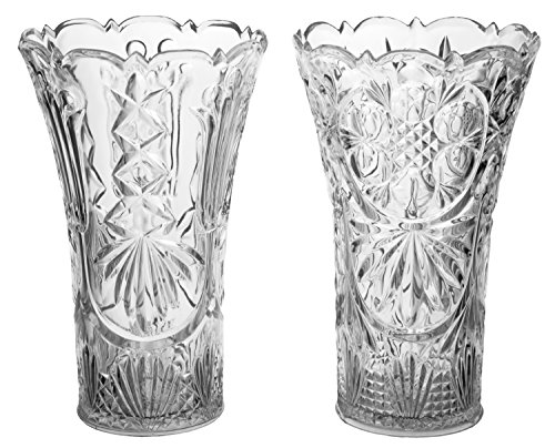 Clear Acrylic Crystal Vase, Break Resistant and BPA Free 35oz. - Set of 2 - Made in USA