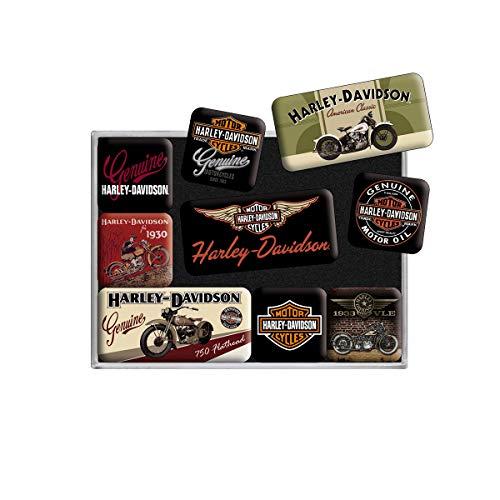 Nostalgic Art Magnet-Set 9-teilig, Magnetset für Magnettafel, Harley Davidson - Bikes, 9 Stück