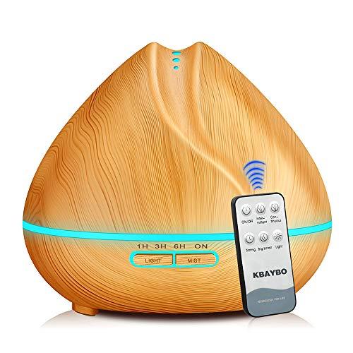 KBEDY 400 ml Difusor de aceite esencial, Humidificador de aire por ultrasonidos de grano de madera, fabricante de niebla fría con control remoto, 7 luces de colores LED cambiantes para el spa en casa