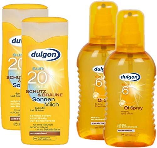 dulgon Sonnencreme Sparset 2xLSF20 Sonnenmilch Schutz und Bräune 250ml + 2xLSF6 Öl-Spray