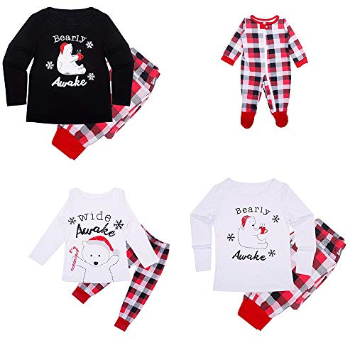 Kenebo De Noël Family Pyjamas Set Matching Polar Bear Plaid De Noël Family Vêtements De Famille Enfant-120cm