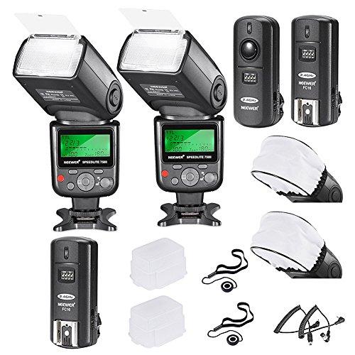 Neewer 750II i-TTL Flash Speedlite Kit para Cámara Nikon DSLR, 2 Neewer 750II Flash, 2.4G...