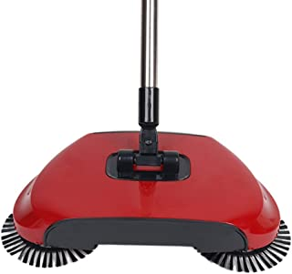Household Sweeping Machine,Hand Push-Type Automatic Without Electricity Sweeper Broom Portable Cleaning Machine 3 in 1 Dustpan and Trash Bin (Red)