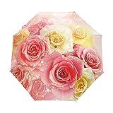 N-B Rainbow Teñido Rosas Flor Automático Tres Mujeres Paraguas Plegable Romántico Fuerte Viento Crea...