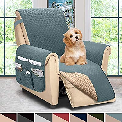 ASHLEYRIVER Reversible Recliner Chair Cover, Recliner Covers for Dogs,Recliner Slipcover,Recliner Covers for 3 Cushion Couch,Couch Protector(Recliner Oversize:Smoke Blue/Beige)