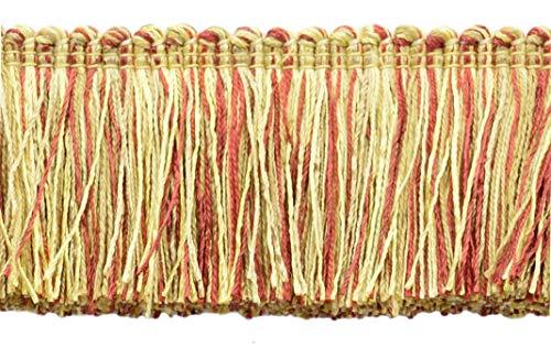 16.5 Meter Value Pack of Veranda Collection 51mm Brush Fringe Trim|Camel Gold, Beachwood Gold, Dark Rust|Style#: 0200VB|Color: Golden Harvest - VNT31 (54 Ft / 18 Yards)