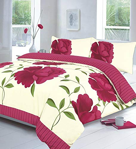 Night Zone Rosaleen (FUSHIA) Duvet/Quilt Cover With Pillow Cases Bedding Set Printed Or Curtains Attractive Flower Designs sold By National textile Ltd (SUPER KING DUVET COVER SET)