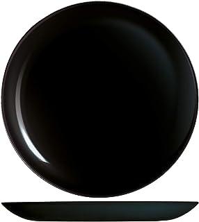 H&H Premiere Lot de 6 assiettes plates, verre, noir, 27 cm