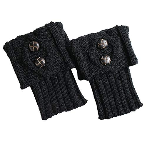 ZZBO Short Mushroom Buckle Boot Cover für Damen Warm Knit Leg Warmers Button Crochet Beinwärmer Einfarbig Winter Stiefel Socken
