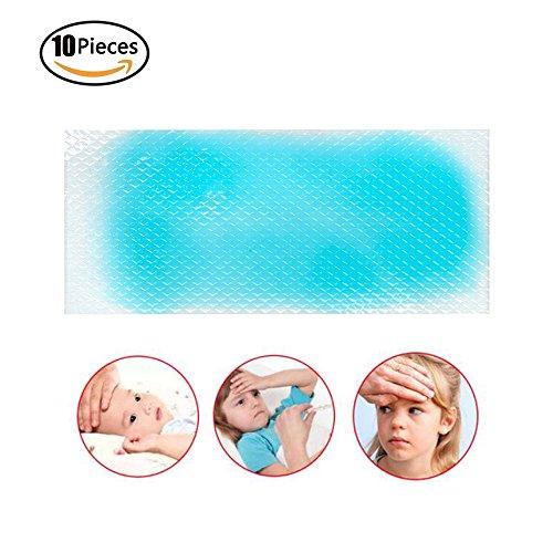 10 parches de gel de refrigeración Risingmed para aliviar el dolor de cabeza, dolor de dientes, dolores de leche, fatiga, refrescante, alivia la fatiga y el amanecer.