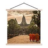 Textil Poster Angkor Wat Skulpturen - Laufender Mönch in