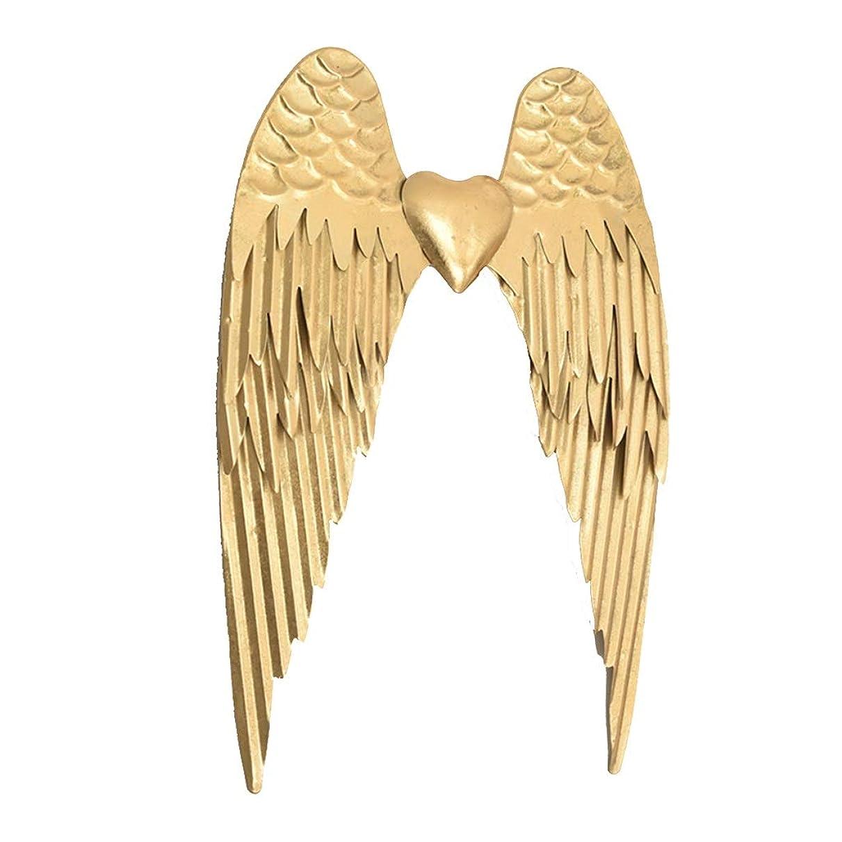 寝る平等絵ウォールデコ 金属壁の装飾天使の羽メタルウォールアートウォールクリエイティブ装飾エンボスホームウォールデコレーション テレビ壁掛け用部品 (Color : Gold, Size : 50*35cm)
