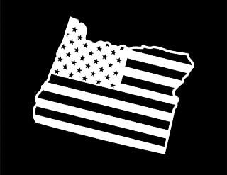 ND396W State Of Oregon Flag Decal Sticker | 5.5-Inches By 4.6-Inches | Premium Quality White Vinyl